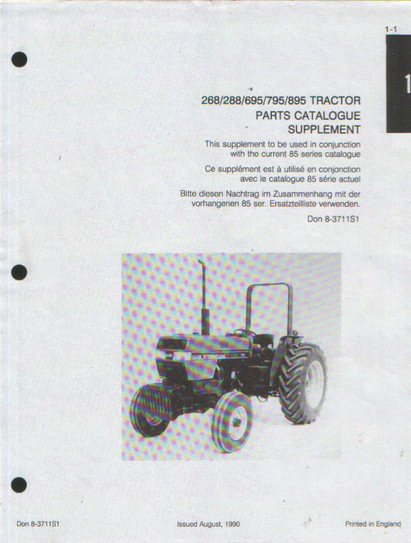 case ih tractor 268 288 695 795 895 parts manual supplements rh agrimanuals  com Case 695 IH U Tube 695 Tractor